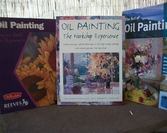 OIL PAINTING BOOKS Instruction Art Studio Lessons - Choice Full Color Illustrated Steps Plein Air Landscape Still Life Floral Impressionism