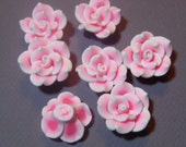10 Fimo Polymer Clay Pink White Flower Beads 25mm