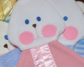 Solid pink cuddly Fisher Price Bunny Blanket replica