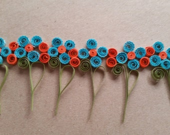 Teal and Orange Quilld Boarder Embellishment
