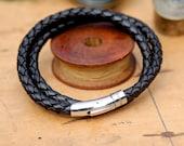 Black Plaited Leather Bracelet - mens bracelet, mens leather bracelet, braided leather, woven leather, male gift