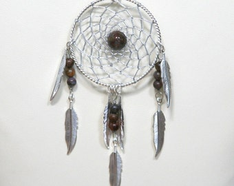 Dream Catcher Pietersite & Silver Dreamcatcher Necklace with Feathers large