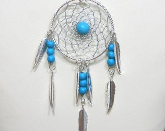 Dream Catcher Chalk Turquoise & Silver Dreamcatcher Necklace with Feathers large
