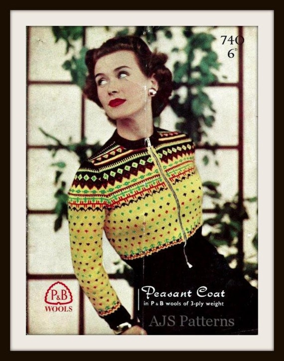 Knitting Eastern European Style : Pdf knitting pattern s retro eastern european style