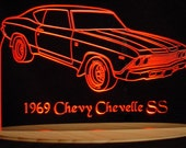 "1969  Chevelle SS Acrylic Lighted Sign 69  Acrylic Light Up LED Sign 13"" VVD1 Full Size USA Original"