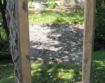 SOLD Handcrafted Large Rustic Industrial Barnwood Mirror Metal Trim no.1413
