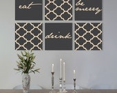 """Mother's Day gift , Eat  Drink Be merry on canvas gallery wraps Set of 6 dining room ideas 1.5"""" thick frame art print"""