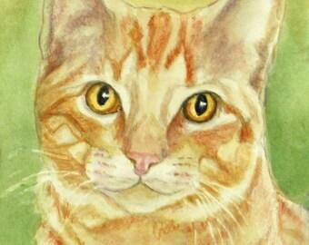 Orange Tabby Cat Art Print, Cat Watercolor & Colored Pencil Print, Tabby Cat Art, Orange Tabby Portrait, from Painting by P. Tarlow