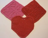 Knitted Dischloths, Valentine, Heart, Love, Kitchen, Red, Hot Pink