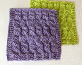 Handmade, Knitted, Dishcloths, Square, Ripple design, Texture, Dish cloths, Coasters