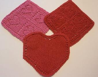 Knitted Dischloths, Valentine, Heart, Love, Kitchen, Red, Hot Pink
