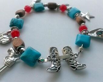 Gunslinging Cowgirl Charm Bracelet