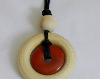 Small Nursing Necklace - Red Stone and Natural Wood