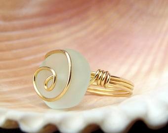 Light Aqua Sea Glass Ring:  24K Gold Swirl Spiral Wire Wrapped Beach Jewelry, Mint Seafoam Green Ring, Size 6