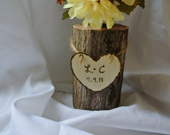 Engagement Gifts, Personalized Log Vase, Master Bedroom Decor, Christmas Gift, 5th Anniversary Gift