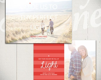 Christmas Card Template: Shine Bright C - 5x7 Holiday Card Template for Photographers