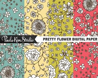 80% OFF SALE Digital Paper Download, Black and White Flower Pattern