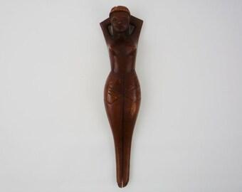 Vintage Mid Century Mermaid Teak Sculpture