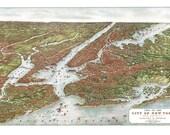 New York City Map 1907 Panoramic Birds Eye View Map of New York Manhattan Print Poster