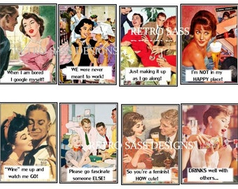 RETRO sassy party ladies w/quirky sayings set of 8 2.5x3.5 tags  digital delivery