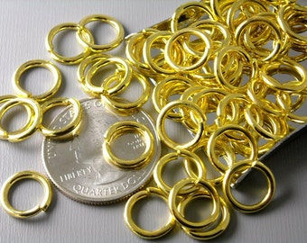 JUMPRING-GLD-15G-10MM - 15 gauge 10mm Gold Plated Open Jump Rings - 30 pcs