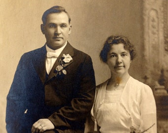 Antique Wedding Photograph (Sepia Toned) in Folder/Frame (c.1900s) - Collectible, altered art, and more