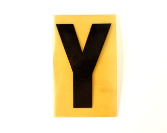 """Vintage Industrial Marquee Sign Letter """"Y"""", Black on Yellow Flexible Plastic (7 inches tall) - Industrial Decor, Art Assemblage Supply"""