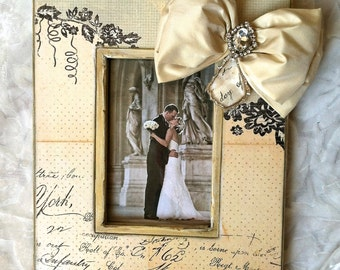 Picture Frame Bow Jewel Wedding Photo French Floral Bling Diamond Crystal Lovely Wedding Portrait Display