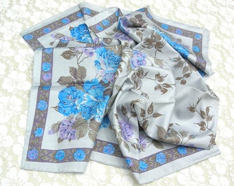 SUMMER SALE Thai Silk Square Scarf - azure blue & mauve floral design, famous handwoven Thai silk, unused - like new, purchased in Thailand