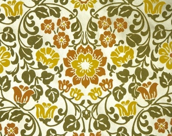 Retro Flock Wallpaper by the Yard 70s Vintage Wallpaper – 1970s Green Orange and Yellow Floral Damask with Hearts on Gold