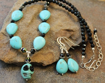 Sugar Skull Necklace Set, Chalk Turquoise and Black Onyx, Sterling Silver
