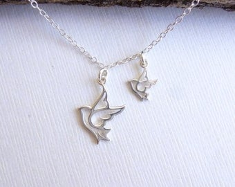 Sterling Silver Little Bird Behind Me Necklace...  Mother Peace Dove... Sisters