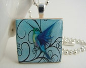 Blue Hummingbird Pendant with Free Necklace