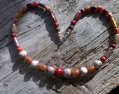 Stone,glass porcelan beaded necklace 22 inch