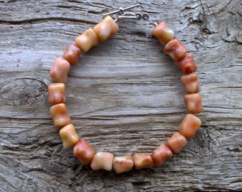 Natural rosa marble beaded bracelet 8 1/4 inch