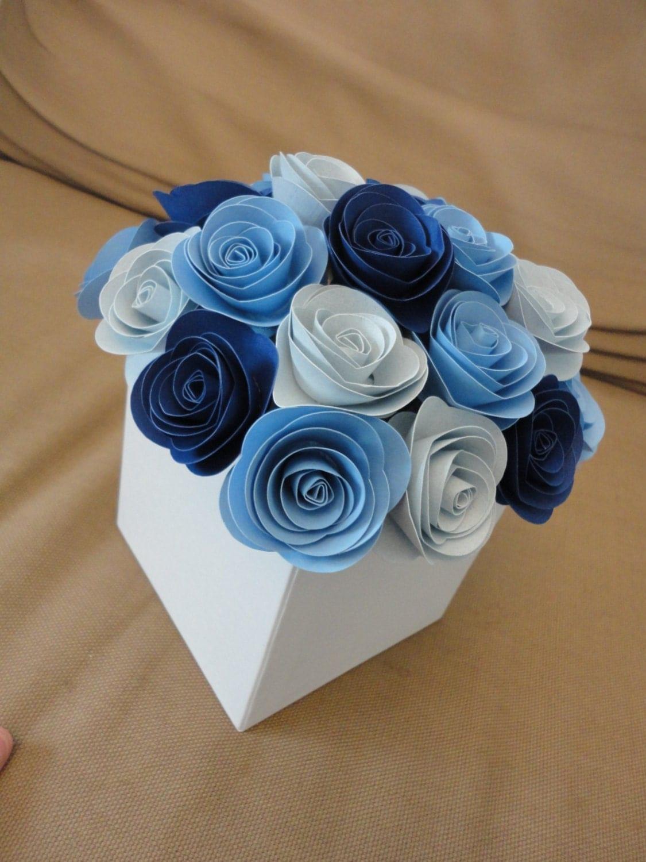 Spiral rose centerpiece paper flower centerpiece shade of blue - Centros de mesa para boda economicos y elegantes ...