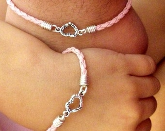 Mommy & Me Tiny Heart Pink Braided Leather Mommy and Me Stackable Leather Bracelets Child Bracelet Handmade in the USA