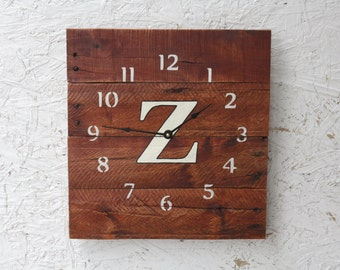 Custom MONOGRAM Pallet Wood Wall Clock with Gunstock Stain. Choose Your Letter.  Rustic.   Wedding.  Housewarming.Gift.