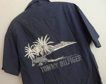 Tommy Hilfiger 80's Tropical Palm Trees Beach Surfer island blue Shirt Men's L