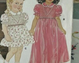 Vintage 1980's Little Vogue Children Girl's Smocked Dress 1293 Sewing Pattern Size 3
