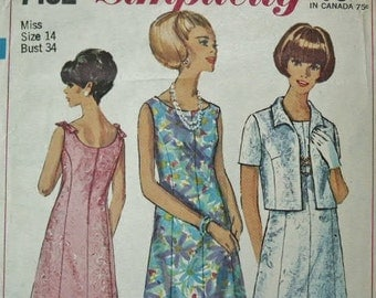 Vintage MOD Era 1967 Simplicity Princess Line Dress with Matching Jacket 7102 Sewing Pattern Size 12 Bust 34