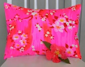 Throw Pillow Cover - Vintage Hot Pink Japanese Cherry Blossoms - 12 x 16