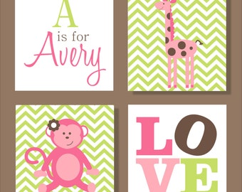 Giraffe and Monkey, Safari, Children's Wall Art, Nursery Wall Art, Children's Canvas- Set of four stretched canvas Customizable