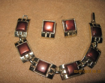 Vintage Thermoset Chocolate Brown Square Bracelet & Clip Earring Set..3034...Bridal Wear,Elegant Jewelry,Gift 4 Her,Vintage 50's,Day or Nite