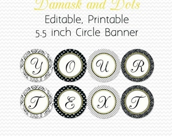 Damask and Dots Bridal Shower Banner, Yellow and Black, Birthday Party Supplies,Congratulations, Graduation - Editable, Printable, Instant