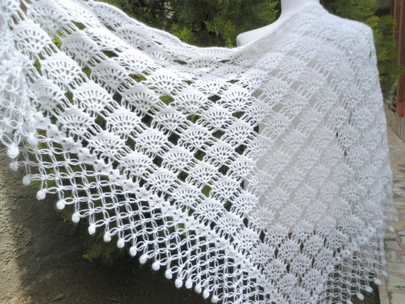 Knitted Wedding Gifts: Crochet Shawl Hand Knit Shawl Gift Valentine Winter