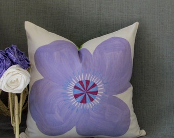 Floral Decorative Accent Pillow Cover Pick Your Own Color of Flower Handmade in the USA