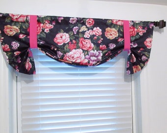 Cabbage Rose  Tie Up Lined Valance  Navy Pink Purple Vintage Inspired Carole Fabric Custom Sizing Available!