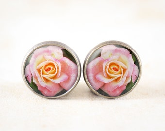 Pink Rose Earrings - Victorian Rose Jewelry, Post Earrings, Cottage Chic Jewelry, Bronze Stud Earrings, Rose Flower Earrings, Nature Jewelry