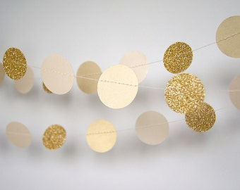 Paper Garland in Cream and Gold, Double-Sided, Bridal Shower, Baby Shower, Party Decorations, Birthday Decoration, Gold Birthday, Gold Party